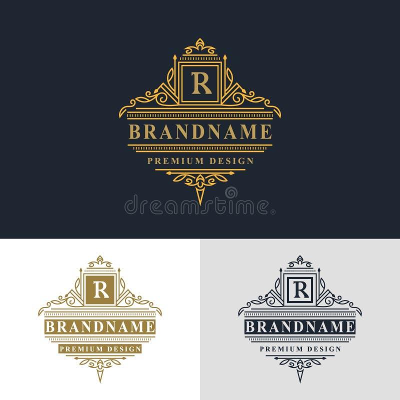 组合图案设计元素,优美的模板 典雅的线艺术商标设计 美好的框架 金餐馆的象征信件R, W 向量例证