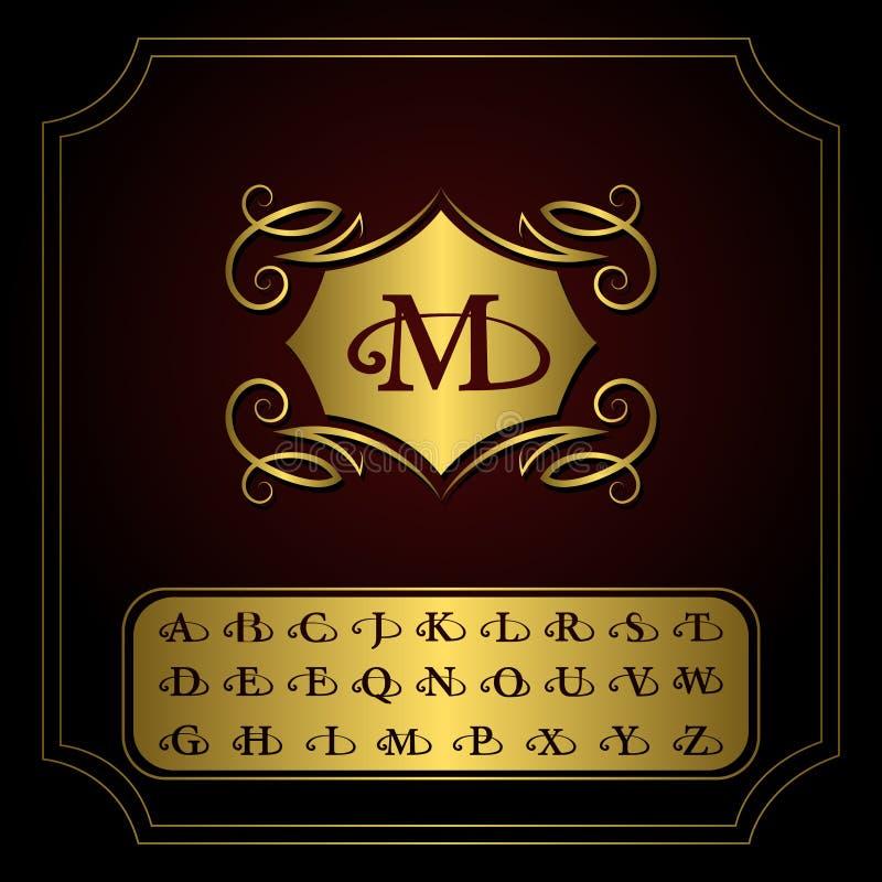 组合图案设计元素,英国信件 典雅的线艺术商标设计 金象征M 企业标志,餐馆的, Ro身分 皇族释放例证