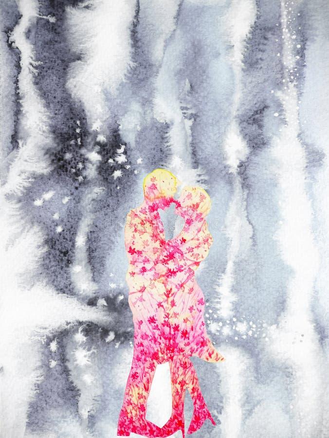 结合在冬天水彩绘画手图画的恋人美好的爱 向量例证