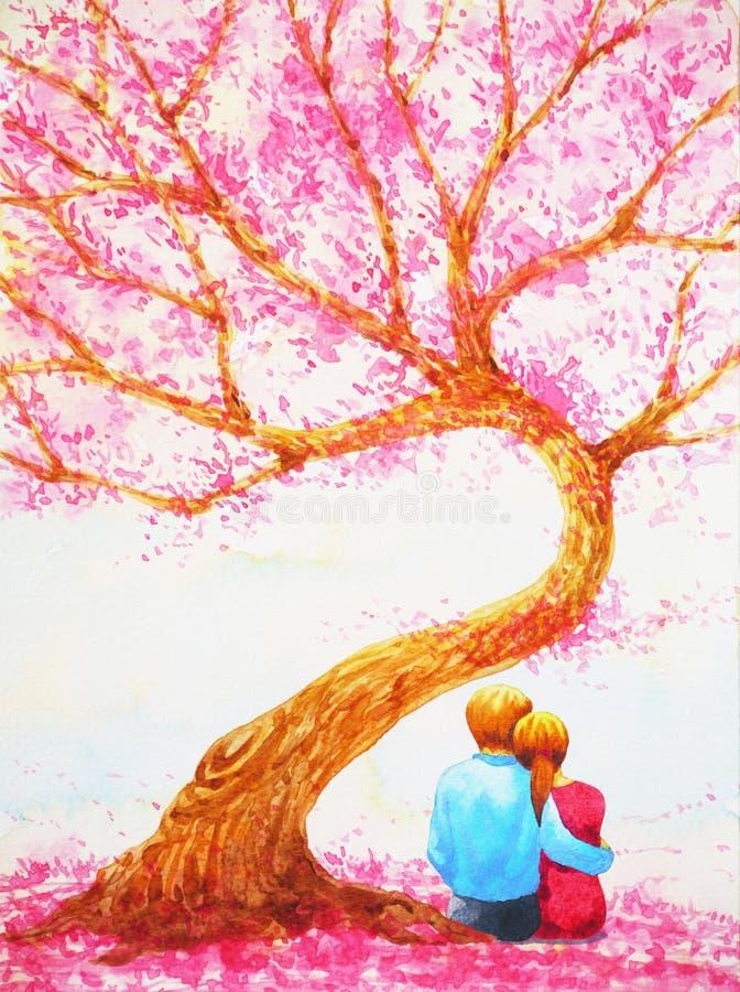 结合坐在爱护树木情人节水彩绘画下的恋人 向量例证