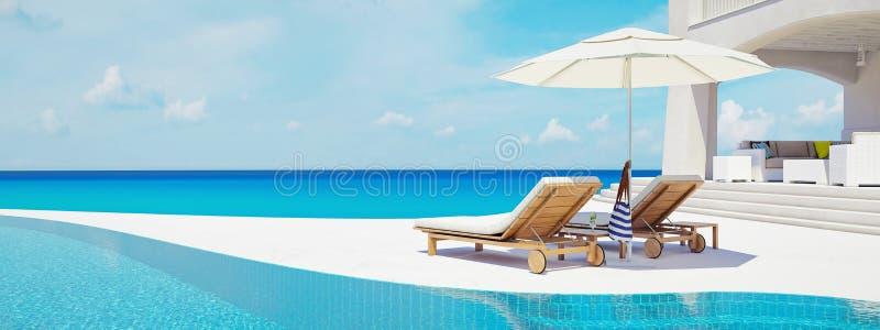 合并游泳别墅 背景概念框架沙子贝壳夏天 3d翻译 向量例证