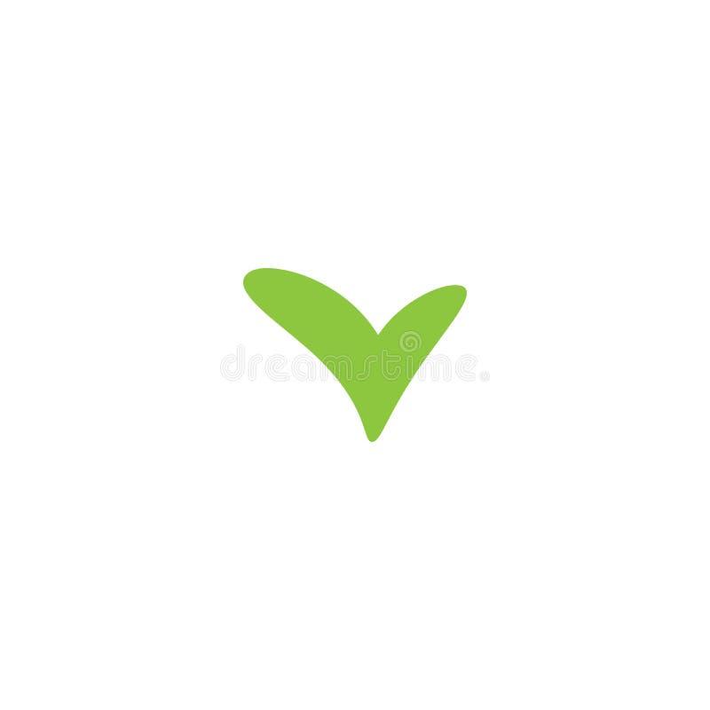 合法的封印象 绿色动画片壁虱 平的好贴纸象 查出在白色 接受按钮 向量例证