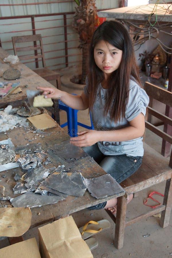 结合主角箔和竹子纸 库存照片