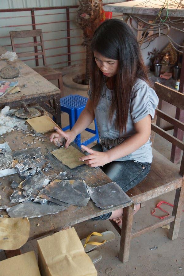 结合主角箔和竹子纸 免版税库存照片