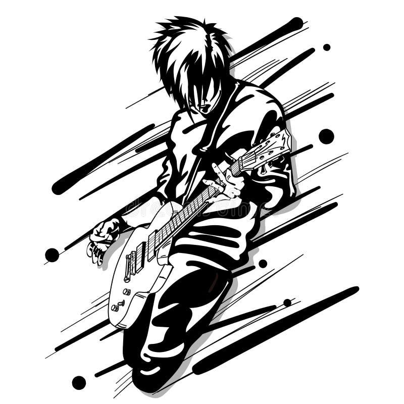 吉他人戏剧音乐图表对象 库存例证