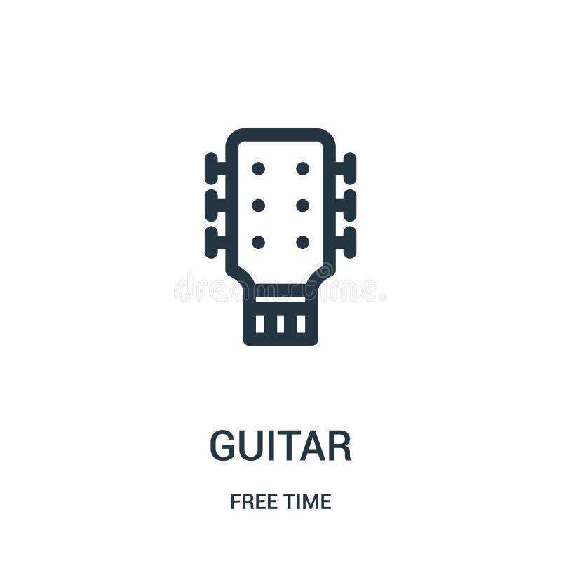 吉他从时间汇集的象传染媒介 稀薄的线吉他概述象传染媒介例证 线性标志为在网的使用和 皇族释放例证