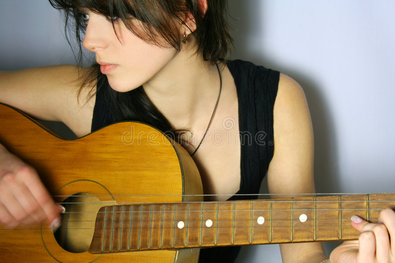 吉他作用 免版税库存照片