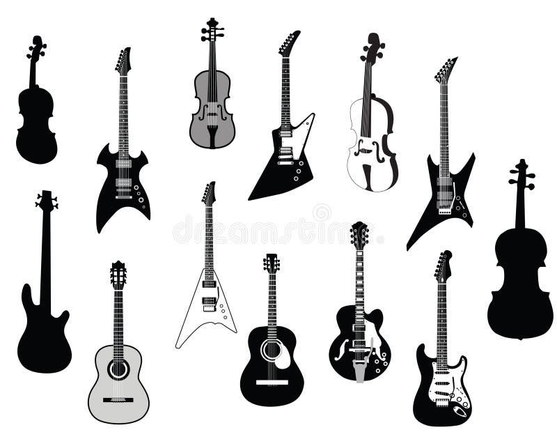 吉他剪影 皇族释放例证
