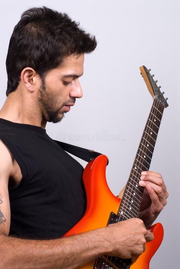 吉他印地安人球员 库存图片