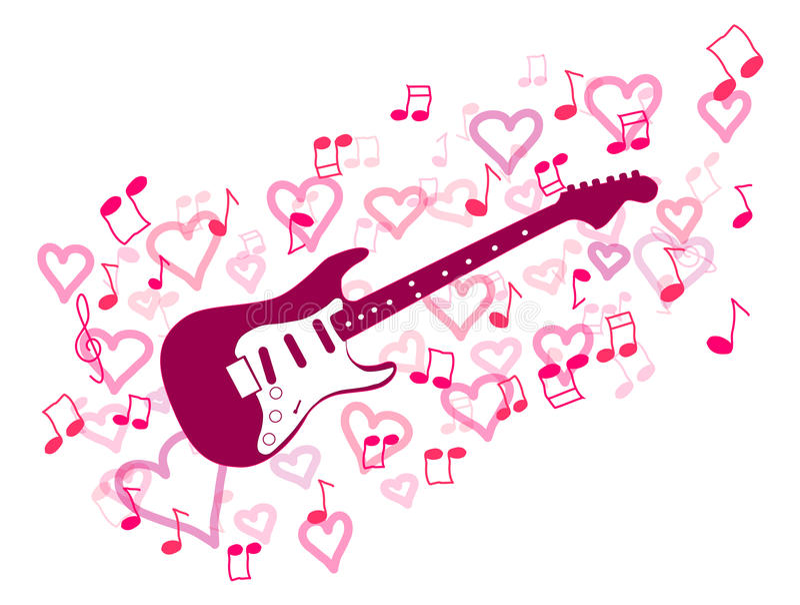 吉他和重点 库存例证