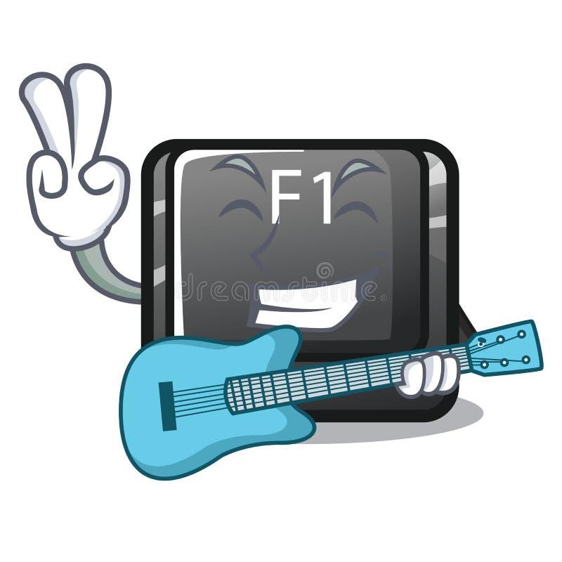吉他在键盘的按钮f1动画片 库存例证