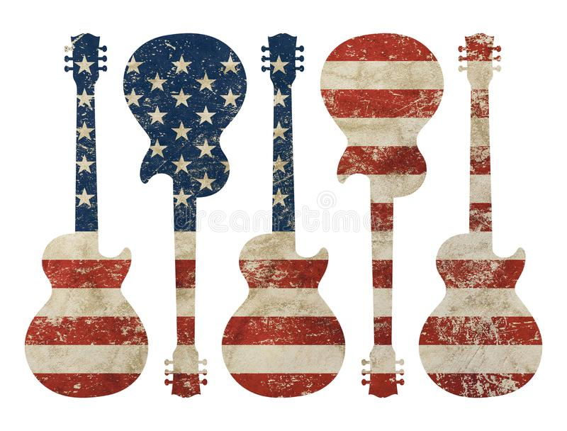 吉他塑造了老难看的东西葡萄酒美国美国旗子 图库摄影