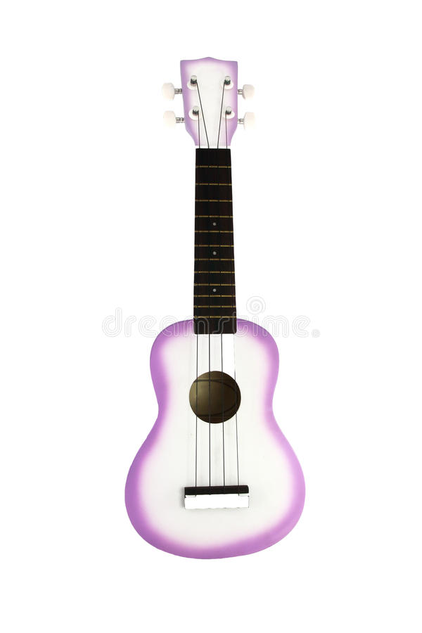 吉他尤克里里琴白色 免版税库存图片