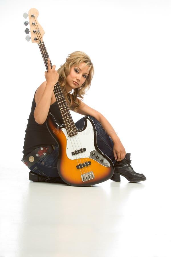 吉他岩石卷妇女 免版税图库摄影