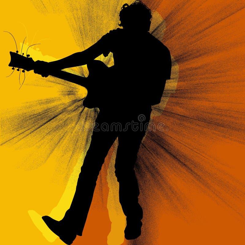 吉他弹奏者剪影 向量例证