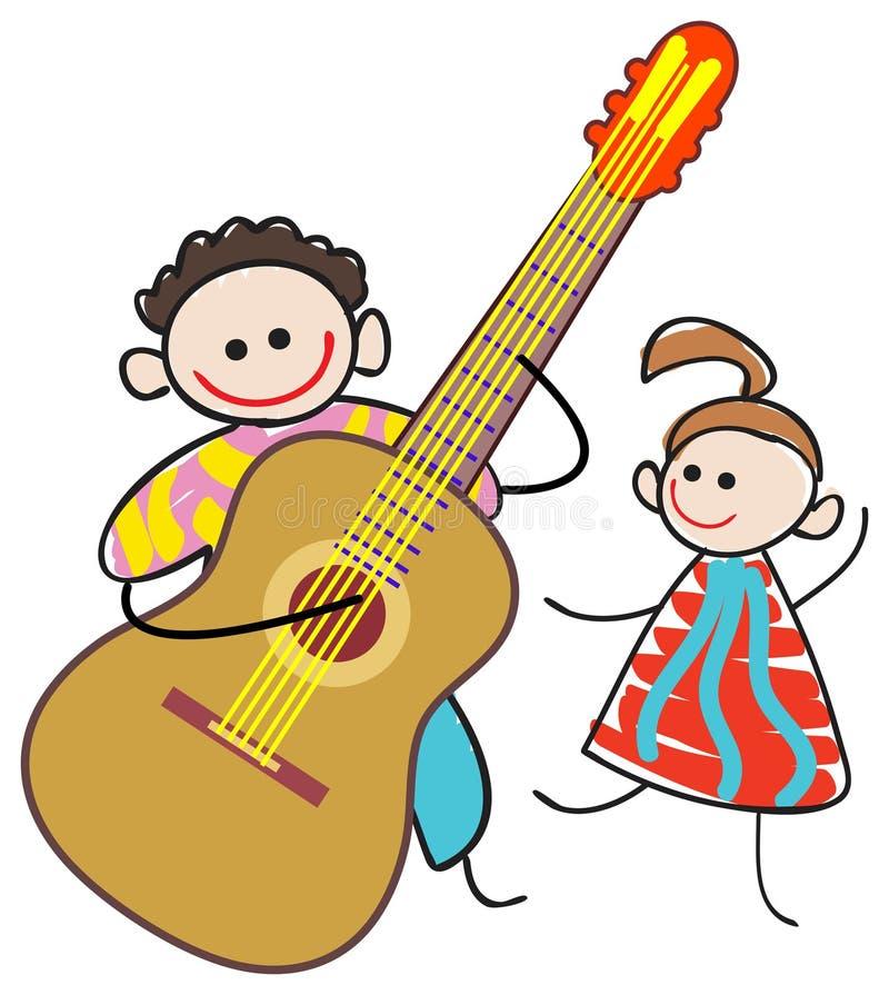 吉他弹奏者孩子 向量例证