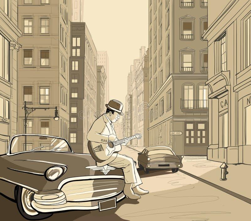 吉他弹奏者新的老街道约克 皇族释放例证