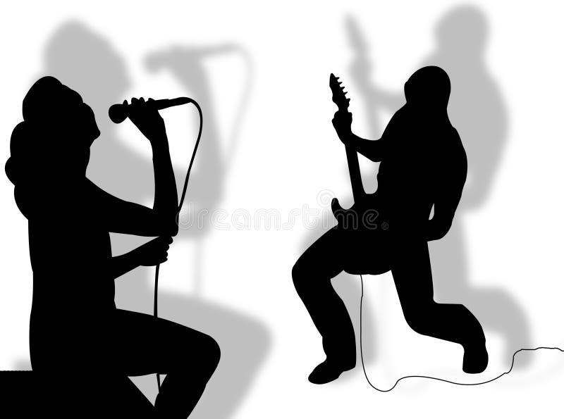 吉他弹奏者歌唱家 向量例证