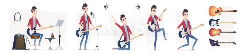 吉他弹奏者用不同的动态姿势 吉他演奏员表现 在一个现代动画片平的样式的设计 皇族释放例证