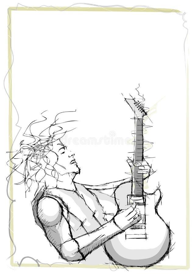吉他弹奏者铅笔速写 库存例证