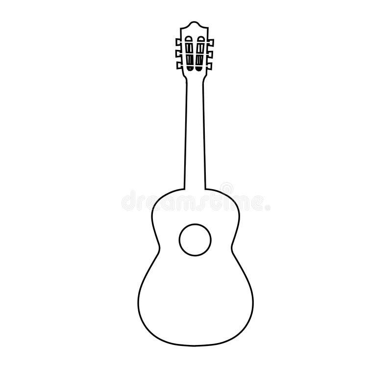 吉他线象,概述传染媒介标志,在白色隔绝的线性样式图表 标志,商标例证 编辑可能 向量例证
