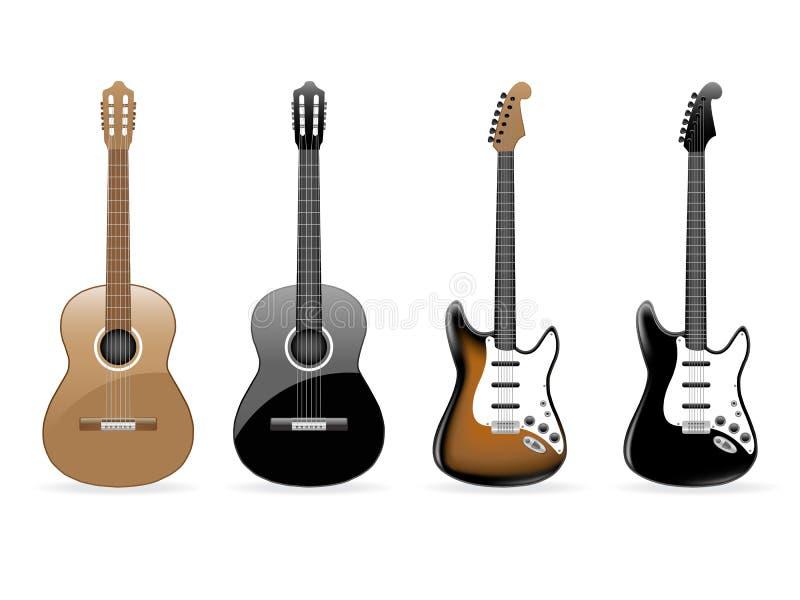 吉他被设置的向量 库存例证