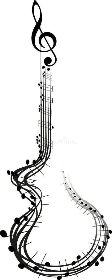 吉他音乐笔记 库存例证