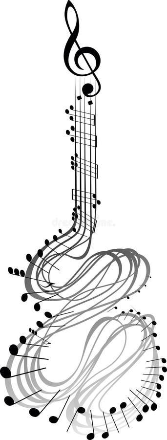 吉他音乐笔记 皇族释放例证