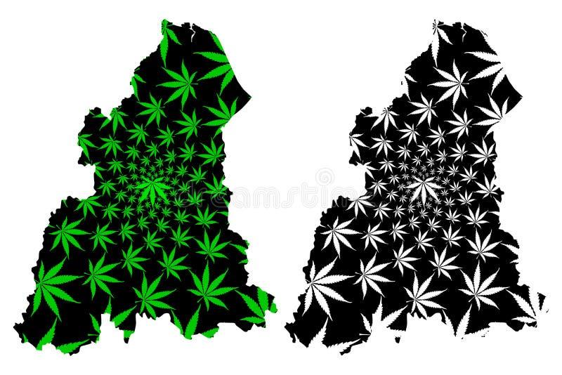 吉兰丹状态和马来西亚,马来西亚地图的联盟的联邦疆土是被设计的大麻叶子绿色和黑的, 向量例证