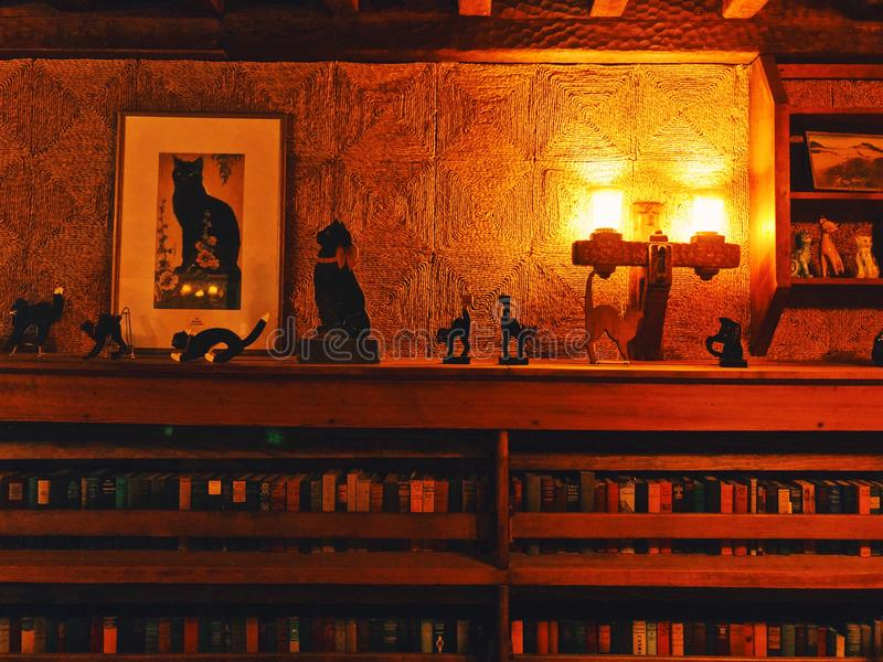 吉勒特城堡内部图书馆 免版税库存图片