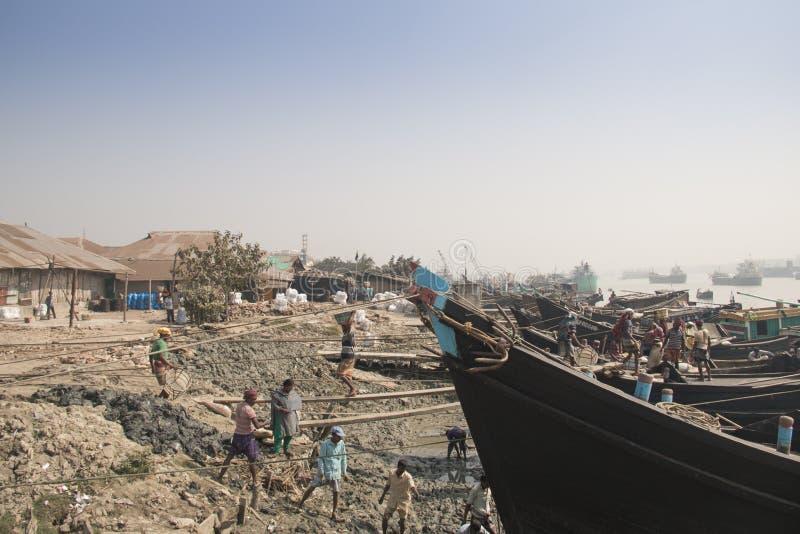 吉大港,孟加拉国港  免版税图库摄影