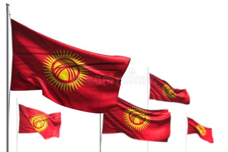 吉尔吉斯斯坦的美丽的五面旗子是在与bokeh -所有宴餐旗子3d例证的白的图象隔绝的波浪 皇族释放例证