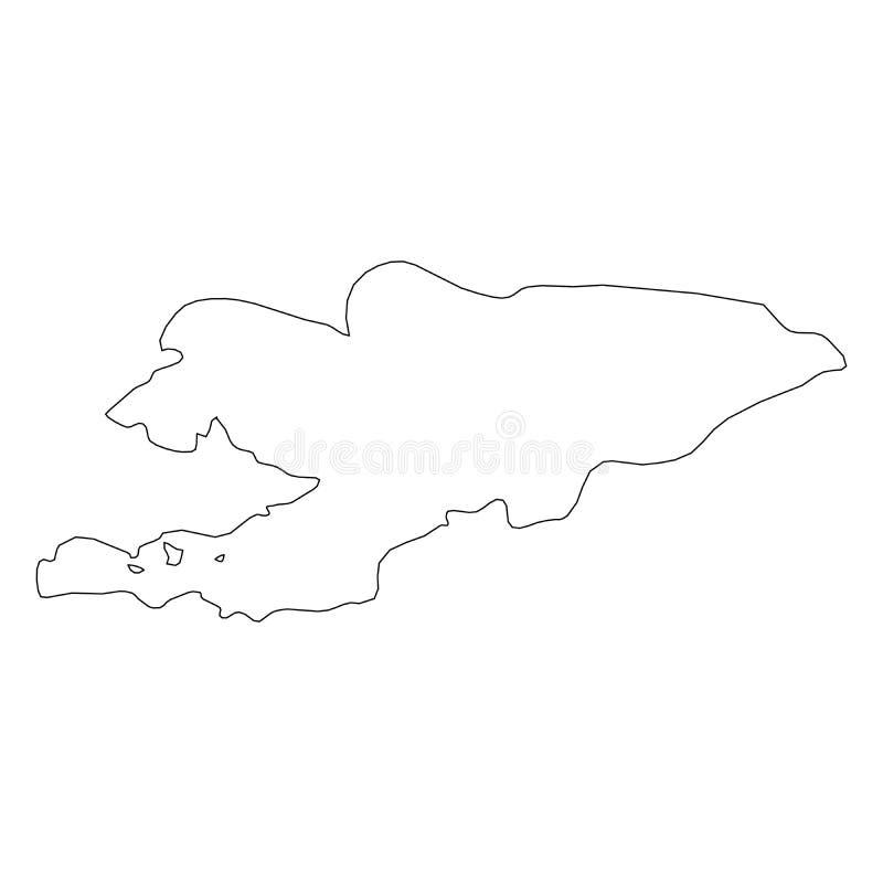 吉尔吉斯斯坦-国家区域坚实黑概述边界地图  简单的平的传染媒介例证 皇族释放例证