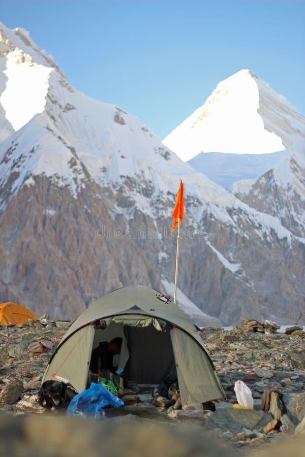 吉尔吉斯斯坦-汗腾格里峰(7,010 m)营地 库存图片