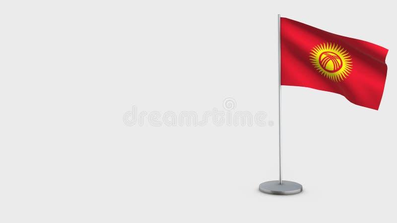 吉尔吉斯斯坦3D挥动的旗子例证 库存例证