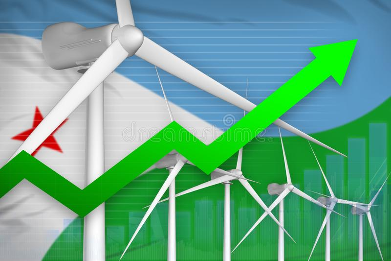 吉布提风能力量上升的图,-环境能量工业例证的箭头 3d例证 库存例证