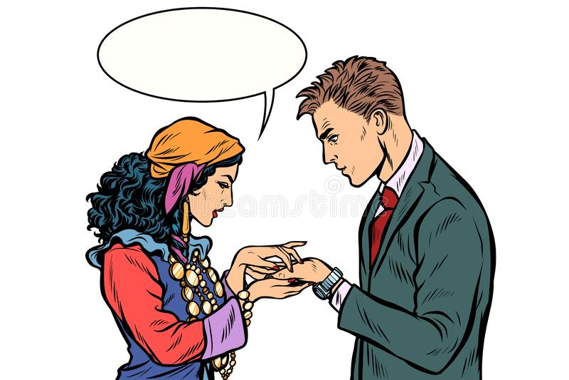 吉普赛人用手告诉时运对商人 在丝毫的孤立 向量例证