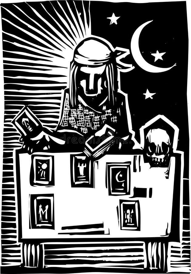 吉普赛占卜用的纸牌读的A 库存例证