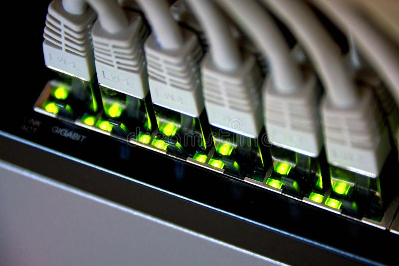 吉比特以太网连接 免版税库存图片