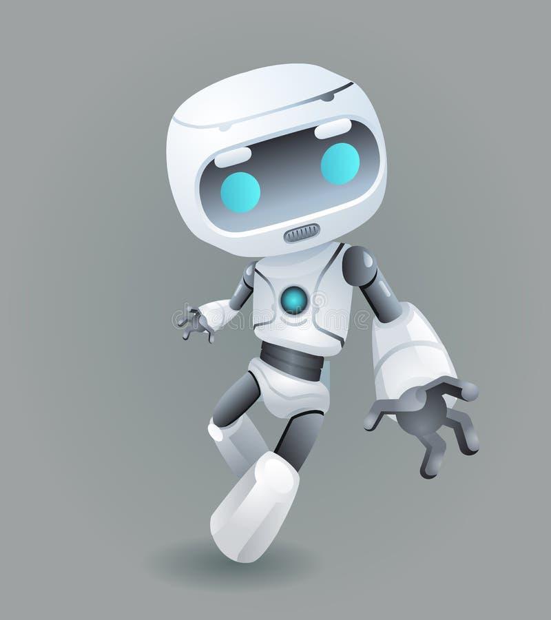 吉祥人机器人创新技术科幻未来逗人喜爱的小的3d象人工智能设计传染媒介 向量例证