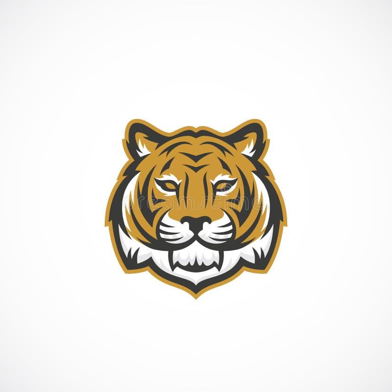 吉祥人老虎面孔摘要传染媒介象、标志或者商标模板 野生动物头Sillhouette 创造性体育的样式 库存例证