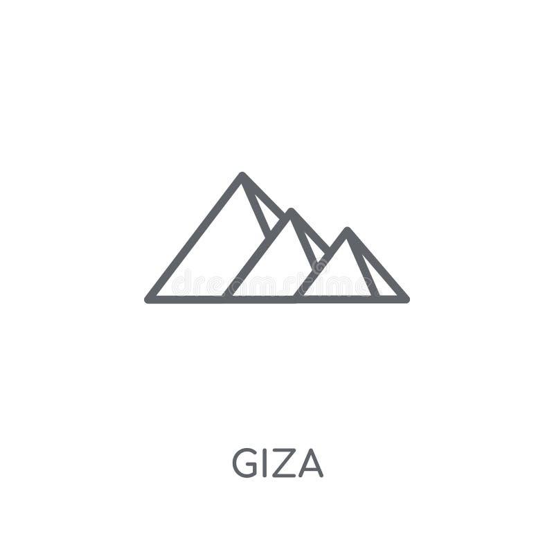 吉萨棉线性象 在白色后面的现代概述吉萨棉商标概念 库存例证