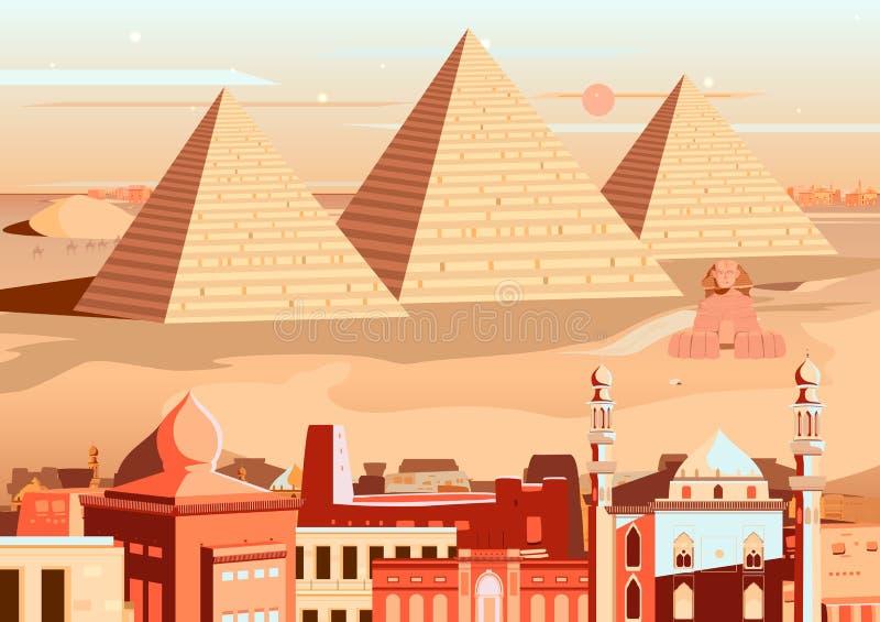 吉萨棉,埃及金字塔和狮身人面象  皇族释放例证