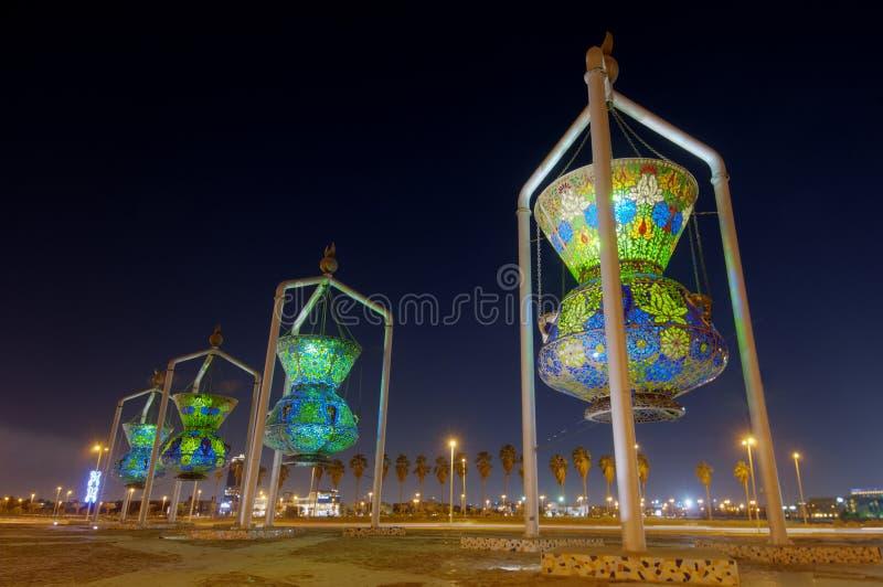 吉达地标,伊斯兰教的设计纪念碑古董点燃Sculptur 库存图片