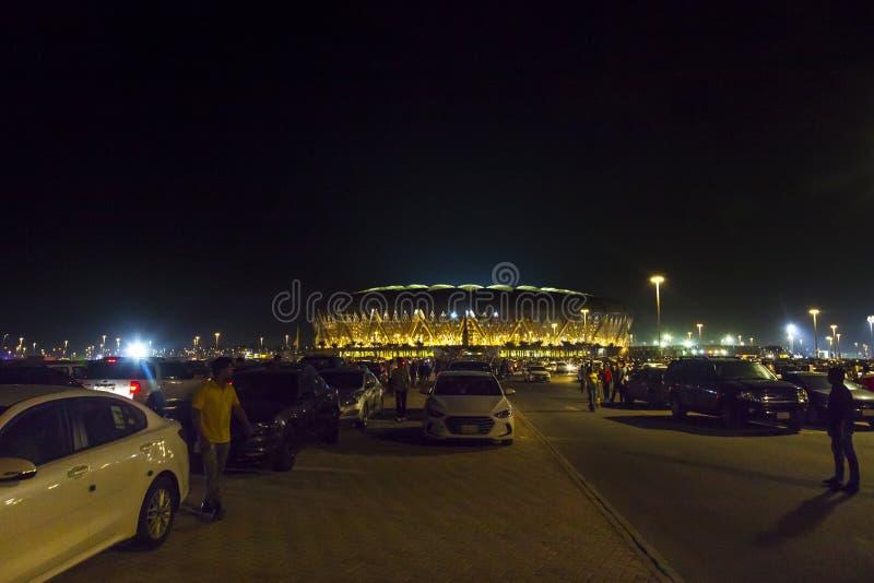 吉达,沙特阿拉伯2018年10月-16,艾伯都拉国王炫耀城市体育场是家庭对沙特阿拉伯的橄榄球 库存图片