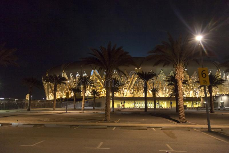 吉达,沙特阿拉伯2018年10月-16,艾伯都拉国王炫耀城市体育场是家庭对沙特阿拉伯的橄榄球 免版税库存照片