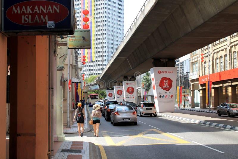 吉隆坡拥挤的街 免版税图库摄影