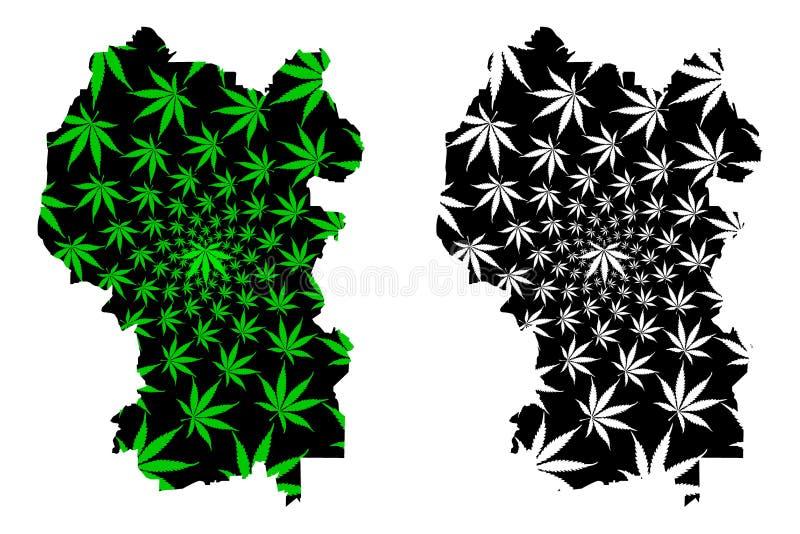 吉隆坡状态和马来西亚的联邦疆土,联盟地图是被设计的大麻叶子绿色和黑的,联邦 皇族释放例证
