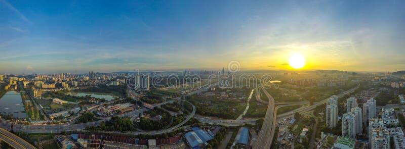 吉隆坡,马来西亚全景鸟瞰图  免版税库存照片