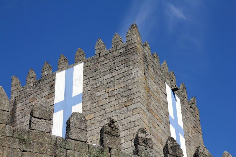 吉马朗伊什城堡在葡萄牙 库存照片